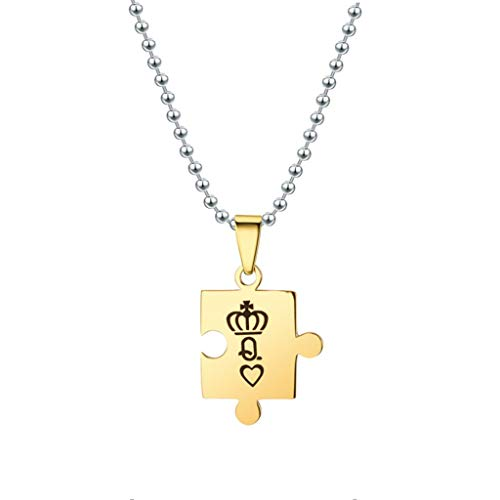 ( Orcbee  _Fashion Trend Geometric Letters Flattening Pendant Pendant Couple Necklace Jewelry (Gold Q))