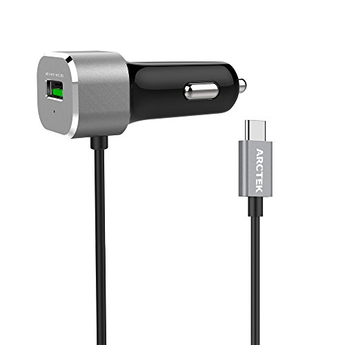 Arctek 33W Dual USB Car Charger with QC 3.0 and Built-In USB-C 5V/3A Cable for LG G6, V20, Google Pixel, Pixel XL, 6P, 5X, Moto Z Force, Silver