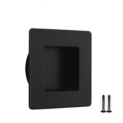 1 Pack Black Recessed Square Door Pull Handles,Solid Stainless Steel Recessed Sliding Door Pulls,2 inch Length Finger Pulls,No Sharp Edges