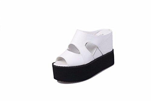 White Tacón Zapatillas Pendiente Impermeable Yuch Mujer Grueso Sandalias Inferior Plataforma La Hueco De Con wI1ZaWOqn