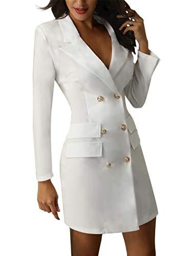 Minetom Femmes Robe Moulante Sexy Slim Fit Mini Robe Double Boutonnage Blazer Robes de Soirée Chic Manches Longues OL Bureau Manteau Veste