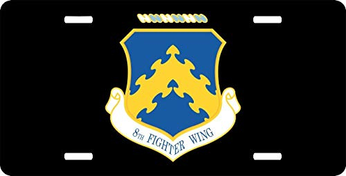 License Plate Covers US Air Force 8th Fighter Wing, Aluminum Metal License Plate for US Standard Vehicles, Auto Tag for Woman/Man, 12 x 6 Inch