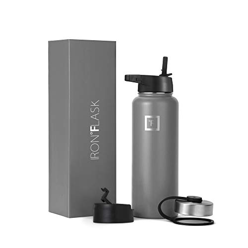 Iron Flask Sports Water Bottle - 40 Oz, 3 Lids (Straw Lid), Vacuum Insulated Stainless Steel, Hot Cold, Modern Double Walled, Simple Thermo Mug, Hydro Metal Canteen (Graphite)