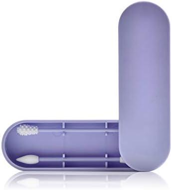 Imagen deReutilizable Bastoncitos,Bason Silicona Bastoncillo de algodón,Bastoncito de limpieza lavable,Bastoncillos de doble cabezal (Púrpura)