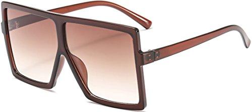 (MAOLEN Oversized Square Polarized Sunglasses for Women Flat Top Shades Sunglasses (brown-brown))