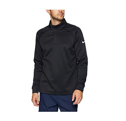 - NIKE Men's Therma Half Zip Golf Shirt, Black/Black/White, Medium