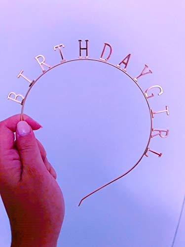Elehere Birthday Girl Tiara Headband Rose Gold Headpiece Girls Party Hair Accessories 0.6\