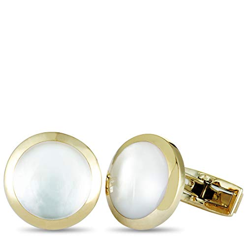 (Luca Carati D-Duke 18K Yellow Gold Mother of Pearl Round Cufflinks)