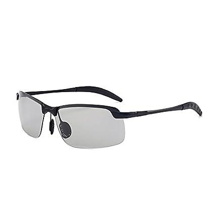 Sunglasses- Gafas de Sol polarizadas Gafas de Sol cuadradas sin Marco metálicas de día y