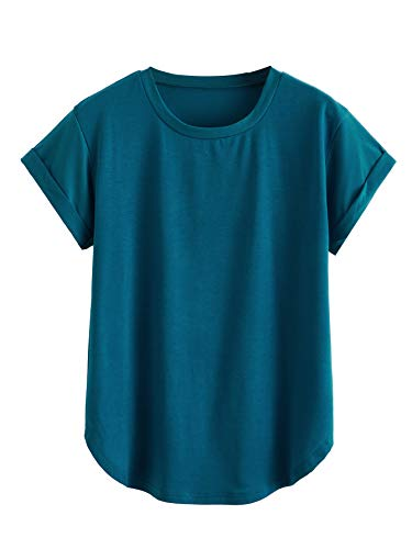 Milumia Women's Basic Round Neck Short Sleeve Curved Hem Tee Loose Casual Tunic Work T-Shirt Tops