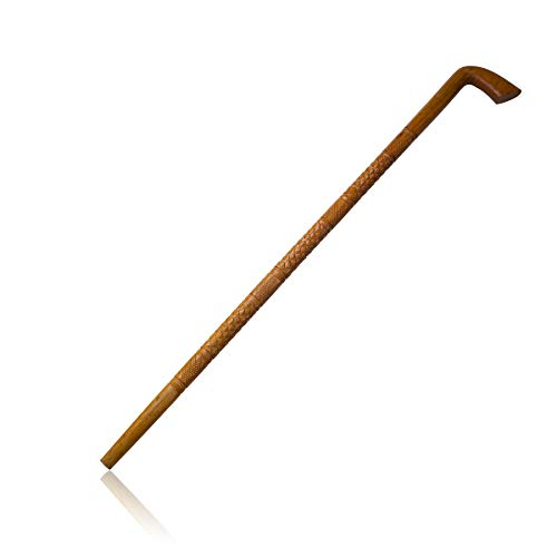 Hand Carved Strong & Lightweight Eucalyptus Wood Walking Stick Cane Staff With Comfortable Round Handle For Everyday Use Handmade Carvings & Natural Finish 36 Inches For Men Women Seniors Elders