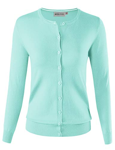 MAYSIX APPAREL Long Sleeve Button Down Round Crew Neck Knit Sweater Cardigan for Women MINT2 M