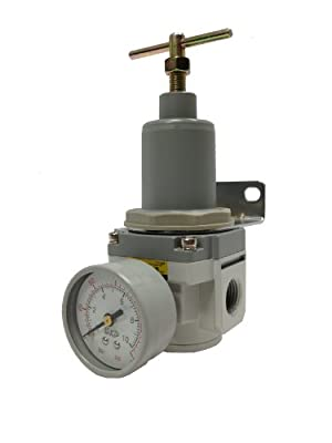 "PneumaticPlus SAR4000T-N04BG Air Pressure Regulator T-Handle 1/2"" NPT with Gauge & Bracket from PneumaticPlus"