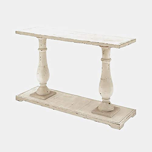 - Wood Hand Carved Console Table - Console Table with Turned Legs - Ivory