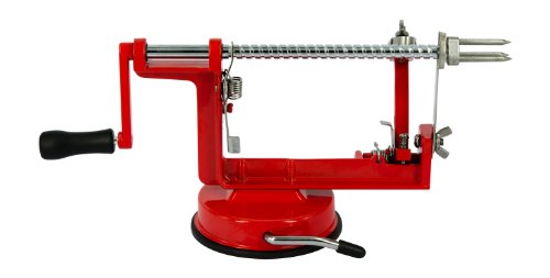 Loopy Apple - Apple Peeler Corer Slicer - Stainless Steel Blades - Vegetable Spiral Slicer - Red