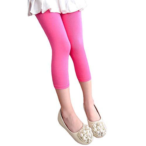 Hello Bee Capri Leggings Grils Leggings Knit Cotton Leggings for Toddler Girls/Little Girls 1 Pack (Pink, 5T)