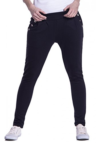 Glamour Empire. Para Mujer Treggings Pantalones Botones Detalles Talle Bajo. 258 Negro
