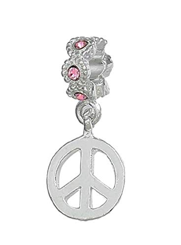 (Peace Sign Pink Rhinestone October Birthstone Dangle Charm for European Bracelet Crafting Key Chain Bracelet Necklace Jewelry Accessories Pendants)