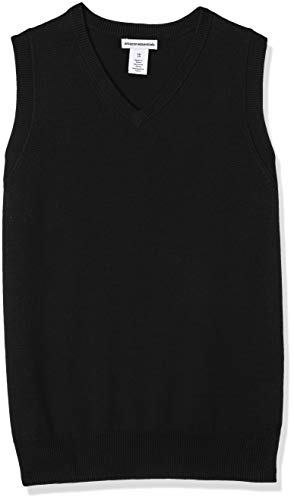 Amazon Essentials Little Boys' Uniform V-Neck Sweater Vest, Black Beauty, S -
