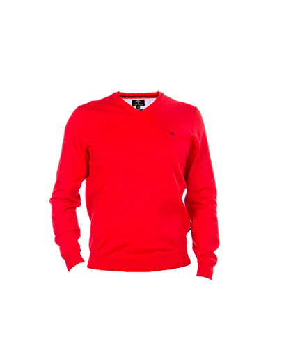 FYNCH HATTON Herren Pullover V-Neck Smart 141-246-133 rot Superfine Cotton