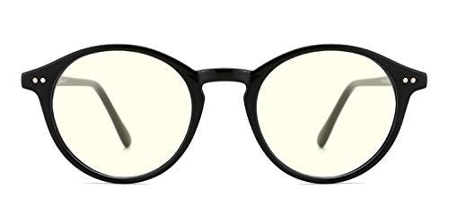 (TIJN Blue Light Blocking Glasses Men Women Vintage Thick Round Rim Frame Eyeglasses)