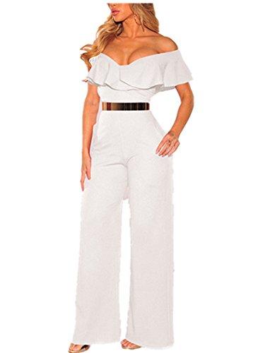 847bfa77b564 Amazon.com  Xuan2Xuan3 Women Off Shoulder Jumpsuit Sleeveless Sexy  Strapless Wide Leg Long Pant Ruffle One Piece Jumpsuit Romper  Clothing