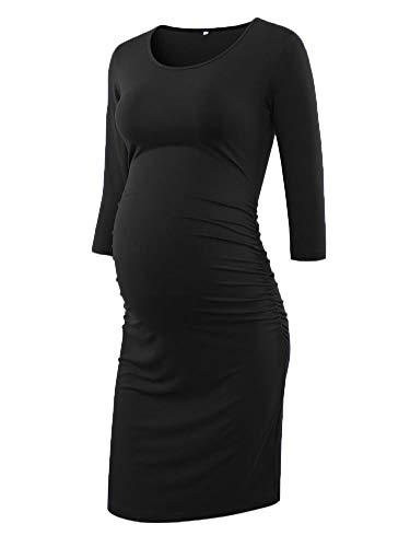 Sleeve Dress Maternity Ruched (Liu & Qu Women's Ruched Maternity Bodycon Dress Mama Causual 3/4 Sleeve Wrap Dresses)