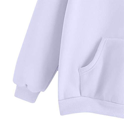 Occasionnel avec Blanc Femmes imprim Pull Automne Manches Dessus Plume Bellelove Dames Blouse Longues Poches Sweat 2018 Capuche des Shirt 7ZqqUdBxw
