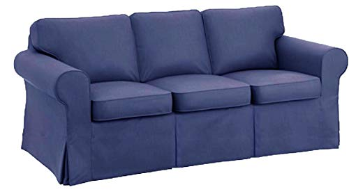 The Sofa Cover is 3 Seat Sofa Slipcover Replacement. It Fits Pottery Barn PB Basic Three Seat Sofa (Blue)