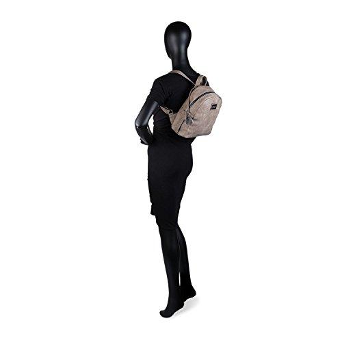 LOIS - 93299 Rucksack casual Design. Reißverschluss. Oberer Griff und verstellbare Riemen. Ruckseite tasche. Seitentaschen., Color Schwarz Beig