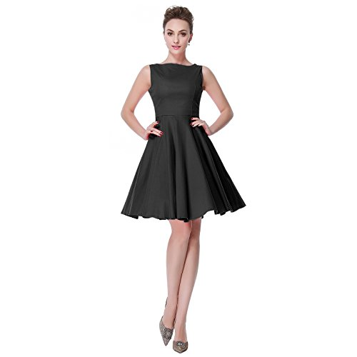 Heroecol Vintage 1950s 50s Dress Hepburn Style Retro Rockabiily Cocktail L BK -