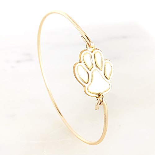 Dog Paw Print Bracelet Bangle Charmed Gold for puppy animal lover mom gift idea