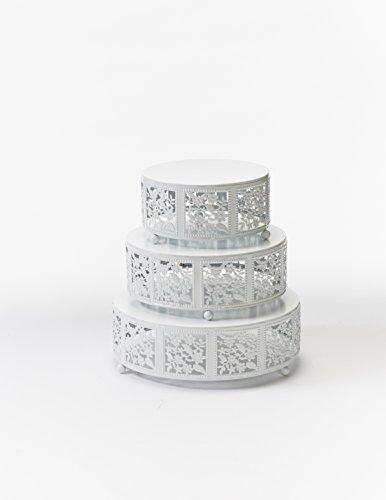 Opulent Treasures Cake Stand, Round Cherry Blossom Metal Cupcake Dessert Display Plates, Set of 3 (White) (Opulent Treasures)