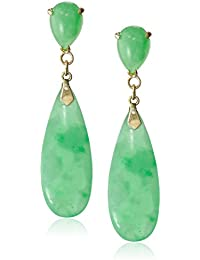 14k Yellow Gold Green Jade Teardrop Earrings