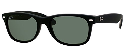 Ray-Ban Sunglasses New Wayfarer RB2132-622, 55mm size, Black rubber frame/Crystal Green - 2132 Sizes Ray Ban