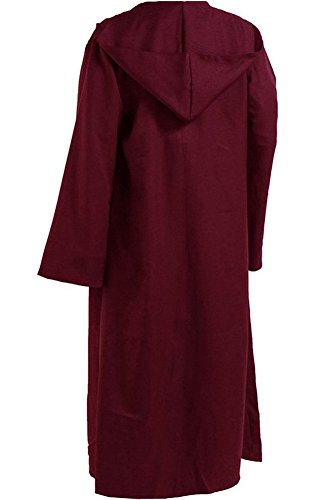 CosplaySky Star Wars Jedi Robe Costume Adult Hooded Cloak Red Large