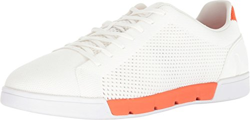 SWIMS Breeze Tennis Knit Sneakers in White/Orange, Size 8.5 by SWIMS