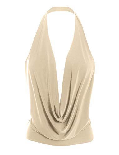 LE3NO Womens Lightweight Sexy Low Cut Halter Top with Stretch Beige