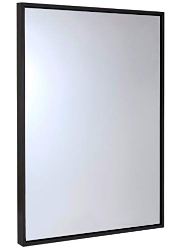 (Hamilton Hills Clean Large Modern Wenge Frame Wall Mirror | Contemporary Premium Silver Backed Floating Glass Panel | Vanity, Bedroom, or Bathroom | Hangs Horizontal or Vertical (Renewed))
