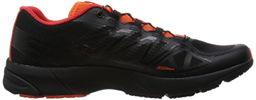 Salomon Mens Speedcross 3 Trail Running Shoe Black, Black, Tomato Red