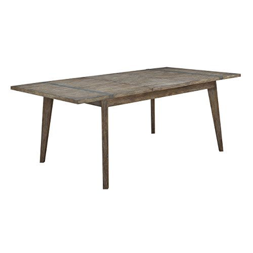 Extension Modern Butterfly Table (Emerald Home Viewpoint Driftwood Gray Dining Table with Self Storing Butterfly Extension Leaf And Metal Detailing)