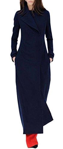- GESELLIE Women's Winter Lapel Long Sleeve Overcoat Full Length Thick Wool Coat Navy XL