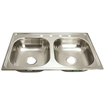 PROPLUS GIDDS 2474254 4 Hole Double Bowl Kitchen Sink For Mobile Homes, 24