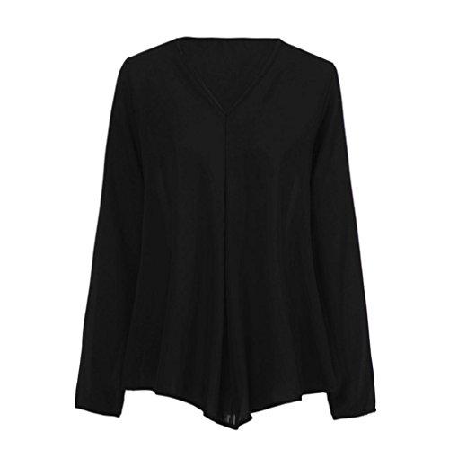 Femmes VJGOAL Longues Solides DContract Tops De en V Manches Mousseline Noir en LaChe Mode Soie Blouses Chemises Automne Daily Tops Col LGer dqgxqrnwB