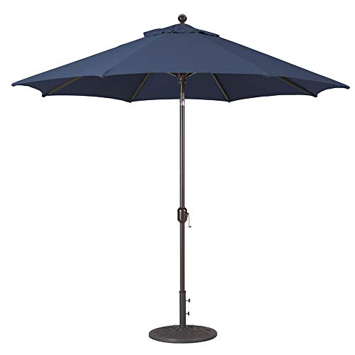 9-Foot Galtech (Model 737) Deluxe Auto-Tilt Umbrella with Antique Bronze Frame and Sunbrella Fabric Navy (Includes Extended Frame Warrantee) from Galtech