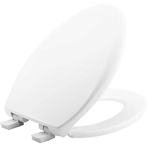 MAYFAIR Toilet Seat will Slow Close, Never Loosen and Easily Remove, ROUND, Long Lasting Solid Plastic, White, 187SLOW