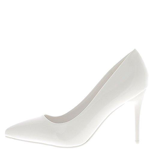 Final de esmalte de uñas blanco zapatos puntiagudo tacón de 9 cm