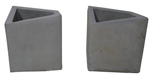 - Kasa Modern Design KM7762SET Concrete Urban Square 2Piece Pot Planter Set, Gray Cement