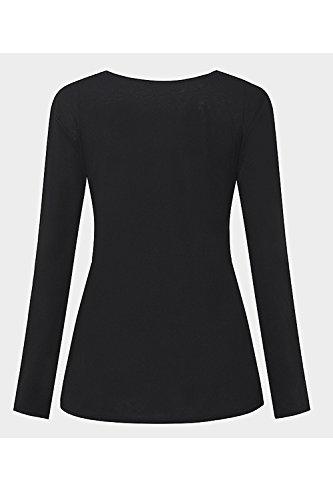 La Mujer Es Elegante De Manga Larga Con Cuello En V Profundo Pullover Hebilla De Cinturon Acanalada Plain T Shirt Tops Blusas Black