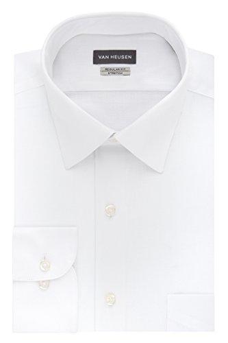 Van Heusen Men's Dress Shirts Regular Fit Lux Sateen Stretch Solid, White, 16.5